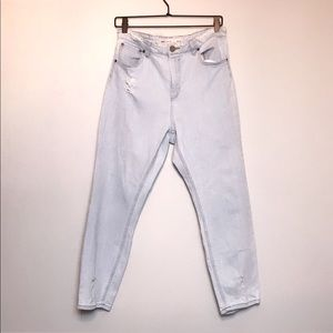 ASOS light wash distressed high waist mom jeans